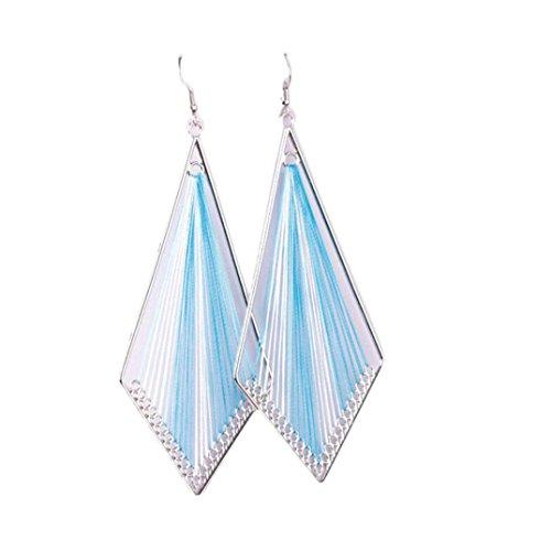 Dangling Handmade Earrings (Elogoog Bohemian Style Dangle Fringe Earrings Wind Handmade Geometric Pendant Eardrop for Women Girl (Blue))