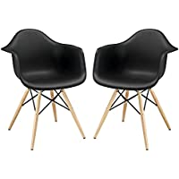 Modway Pyramid Dining Armchairs with Natural Wood Legs in Black - Set of 2