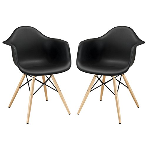 929 Dining Set (Modway Pyramid Dining Armchairs with Natural Wood Legs in Black - Set of 2)