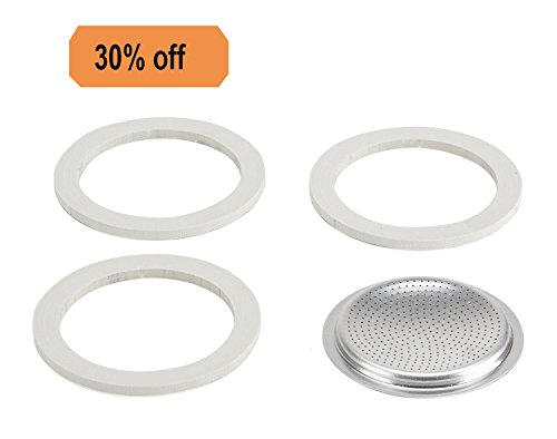Stovetop Espresso Maker Filter Plates (Podoy Gasket Filter Plate Replacement Parts Stainless Steel Filter Silicone Gaskets for 6 Cup Moka Coffee Makers (3 gaskets and 1 filter))