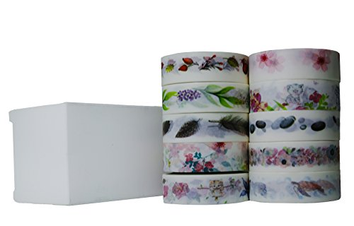 10pcs 10m Colorful Washi Tape DIY Adhesive Paper Sticker 1.5cm - 1