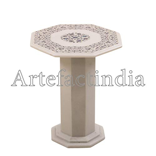 Artefactindia Fine Decorative Mosaic Art Inlay Paua Shell White Marble Table Top End Table 15