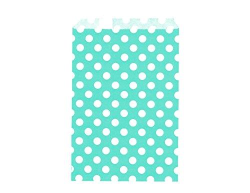 Glassine Favor Bags (100CT Large Polka Dot Aqua Biodegradable, Food Safe Ink & Paper Cookie Bag, Eco-friendly Favor Bag, Treat Bag (Polka Dot Large, Aqua))