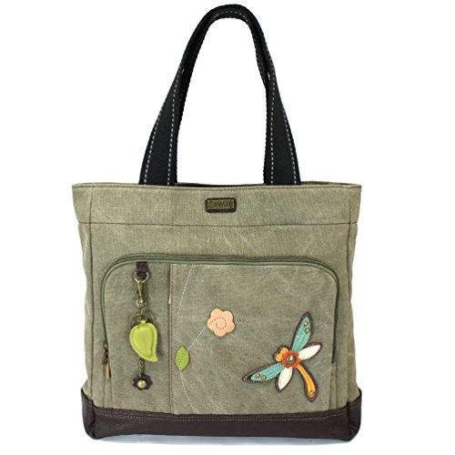 Chala Stripe Canvas CARRYALL Tote Shoulder Handbag with Leather Playful Animal Print (824 Olive Dragonfly) (Green Dragon Leather)