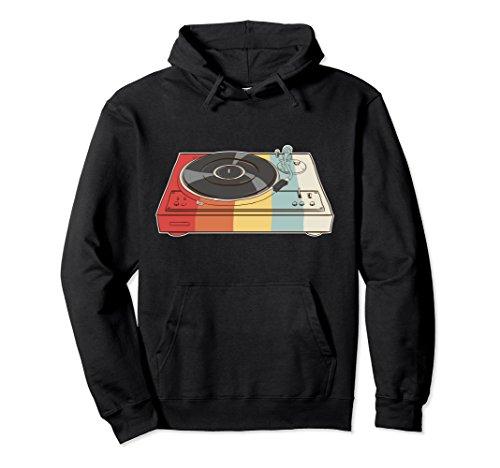 Unisex Retro Vinyl Records Hoodie - Turntable DJ XL Black