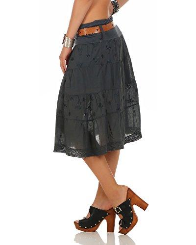 unique 38 Coton Anthracite Jupe Dcor Coton 44 Taille Jupe Ceinture Femmes Jupe D't Genou PwBqOwv8x