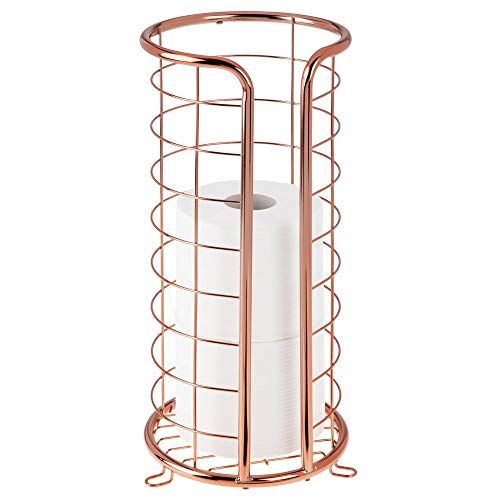 mDesign Decorative Metal Free Standing Toilet Paper Holder Stand with Storage for 3 Rolls of Toilet Tissue - for Bathroom/Powder Room - Holds Mega Rolls - Rose Gold
