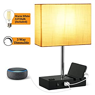Touch Control USB Table Lamp, 3-Way Dimmable Table Lamp with 2 Useful USB Ports & One Outlet, 2700K 800LM Bulb Included with the Modern Table Lamp, Suitable for Nightstand Bedroom Lamp, White Shade
