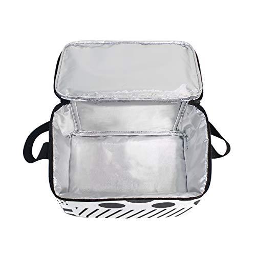 Dots Lunchbox Cooler Patchwork Polka Picnic for Strap White Bag Shoulder Lunch Black fCqAAU