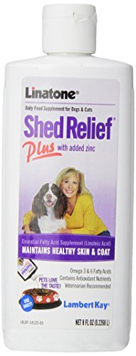 Lambert Kay Linatone Shed Relief Plus Skin and Coat Liquid Supplement for Dogs and Cats, 8-Ounce by Lambert (Linatone Plus Shed Relief)