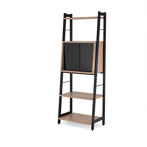 ACME Furniture Acme 92360 Finis Leaning Bookcase, Light Oak & black, One Size by Acme Furniture