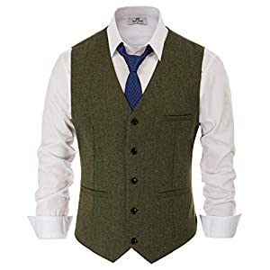 PaulJones Men Vest Sleeveless V Neck Business Slim Fit Suit Tweed Fashion