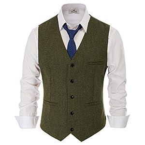 PaulJones Men's Business Sleeveless Lapel Collar 4-Buttons Suit Vest