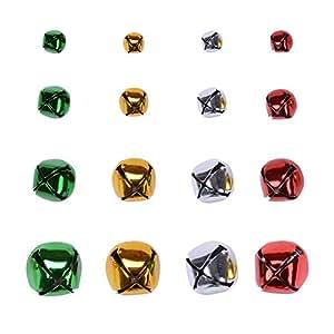 eborder 160piezas varios colores Jingle Bells grueso campanas artesanales para Festival Fiesta de Navidad, 4tamaños (0,4cm, 0,6cm, 0,8pulgadas, 1pulgada y # xFF09;