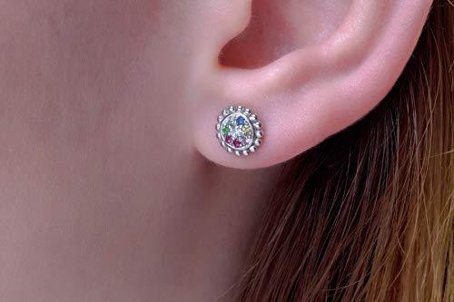 - Rainbow earrings, Multi sapphires earrings, Rainbow sapphire studs, Multi coloured studs, FREE SHIPPING Gold studs, Stud earrings