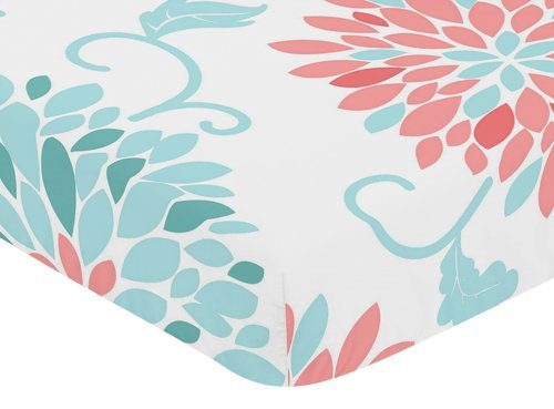Sweet Jojo Designs Fitted Crib Sheet for Modern Emma Baby/Toddler Bedding Set Collection - Floral (Modern Baby Crib Bedding)