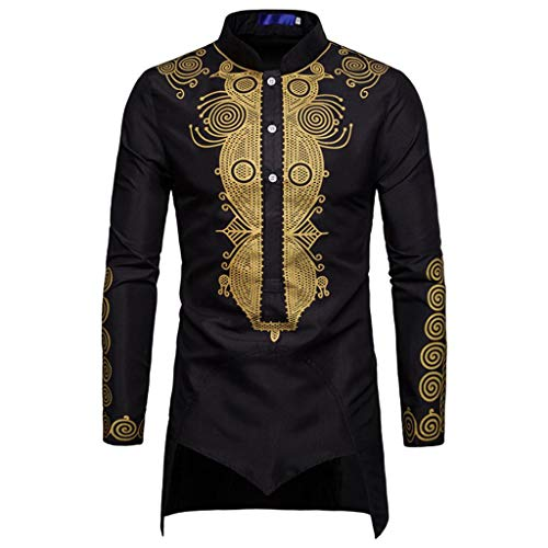 Luxfan Mens African Clothing Tribal Dashiki Long Shirt Traditional Ethnic Slim Fit Outfit Plus Size (D-Black, M)