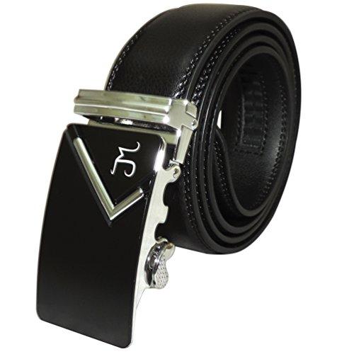 J Mrad - Men's Genuine Leather Ratchet Dress Belt with Automatic Sliding (Custom Made Belt Buckles)