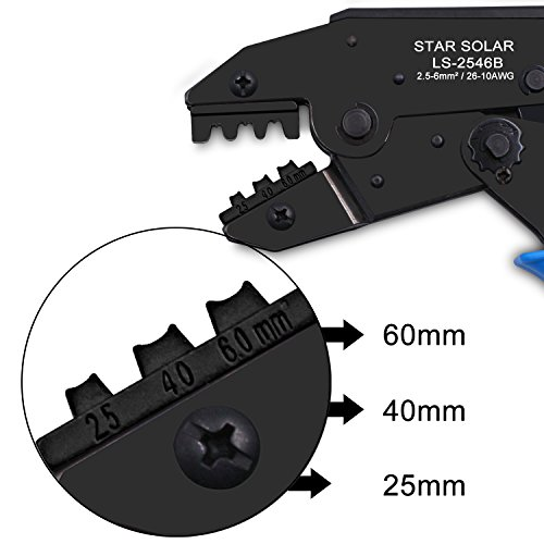 Startostar MC4 Crimper, Solar Panel Crimping Tool Insulated Wire Terminals Connectors Ratcheting Pliers for 26-10 AWG - 2.5/4.0/6.0mm² Solar Panel PV Cable Connector by Startostar (Image #3)