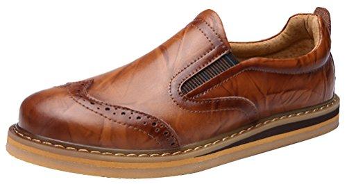 Abby Y688 Hombres Brogues Low Top Zapatos Moda Casual Leisure Smart Cómodo Cuero Marrón