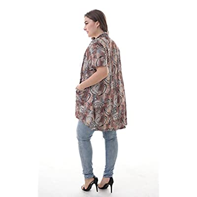 ZERDOCEAN Women's Plus Size Short Sleeve Lightweight Soft Printed Drape Cardigan with Pockets at Women's Clothing store