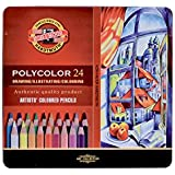 Lápis de Cor Koh-I-Noor Polycolor 24 Cores Caixa Metálica