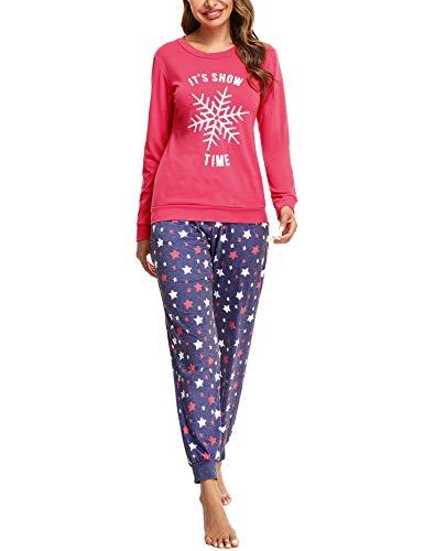 Doaraha Conjunto de Pijamas de Algodón para Mujer Camiseta y Pantalones Estrellas Copo de Nieve Ropa de Dormir de Manga Larga Suave Cómodo Loungewear