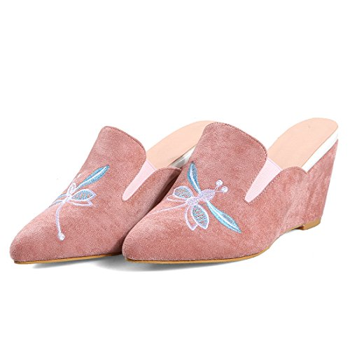 Pink Wedge Slippers High Embroidery Pointed with Mules Comfortable Toe Artfaerie Women's Outdoor Heel Shoes xOgEqEwY5