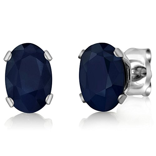 1.10 Ct Oval Natural Blue Sapphire 925 Sterling Silver Stud Earrings 6X4mm