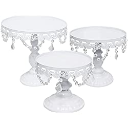 ZXMOTO 3pcs Set Cupcake Stand Classical Metal Dessert Wedding Birthday Party Cupcake Holder Cake Tray with Crystal Pendants,White