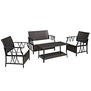 Patio Garden Set Table and Chair Sectional Cushion Deck Outdoor Furniture PE Wicker Rattan