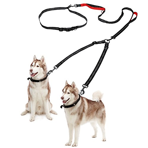 Delxo Double Dog Leash Retractable Dog Leash with Coupler for One or Two Dogs Hands Free Waist Belt Leash or One-handedly Dual Bungees with Padded Handles Medium to Large 150 lbs Dogs Greater Control