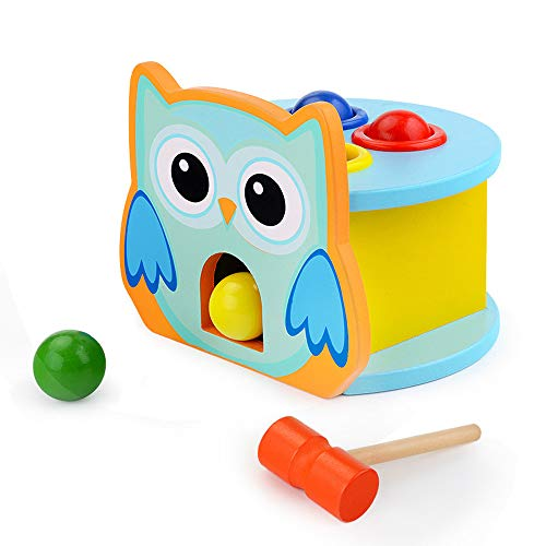 (CMrtew ❤️ Kids Toy Baby Funny Toys for Boy Girl Wooden Construction Pounding Bench Deluxe Tool Kit Toddler Working Bench Mallet (Multicolor, 16x14x13cm))