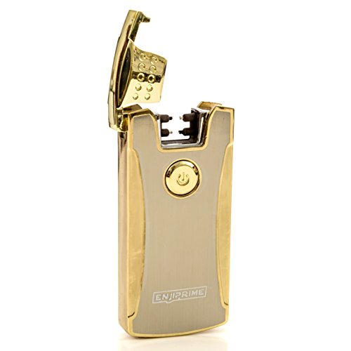 70% off end soon, Hurry, Best 2017 Gold USB Electronic Rechargeable Arc Lighters, Enji Prime, spark At The Push Of a Button, Flameless, Windproof, Eco Friendly & Energy Saving (Hookah Cigarette Rechargeable)