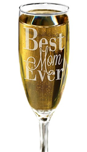 Best Mom Ever ONE Champagne Flute Mother's Day Birthday 50th Birthday Champagne Glass Gift for Mom Mum -