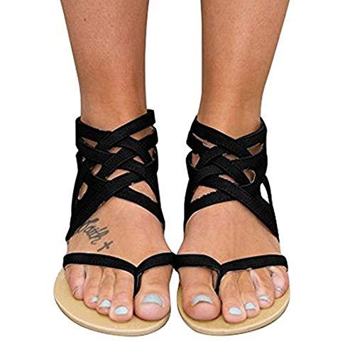 Xiakolaka Womens Strappy Sandals Flat Gladiator Cross Strap Thong Toe Shoes Black