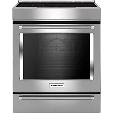 KitchenAid KSIB900ESS 4-Element Induction Slide-In Convection Range with Baking Drawer 30, Stainless Steel