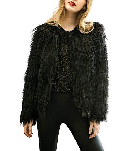 Simplee Apparel Women's Vintage Winter Warm Fluffy Faux Fur Coat Jacket Outwear,12,Black ()