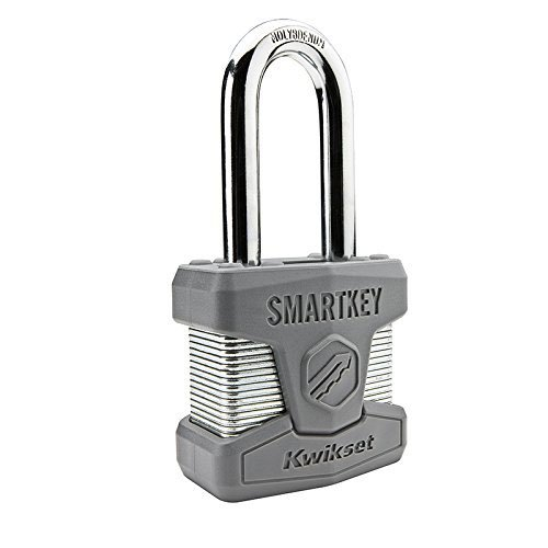 Master Chrome Padlock (Kwikset 026SMTLNG SHKL PDL Stanley SmartKey Padlock Long Shackle, 50mm, Satin Chrome)