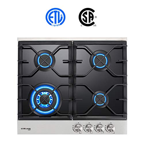 - Gas Cooktop, Gasland chef GH60BF 24'' Built-in Gas Stove Top, Tempered Glass LPG Natural Gas Cooktop, Gas Stove Top with 4 Sealed Burners, ETL Safety Certified, Thermocouple Protection & Easy To Clean