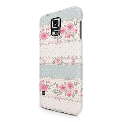 Flowers Vintage Lined Pink Rose Pattern Samsung Galaxy S5 Plastic Phone Protective Case Cover (Florist Rose Vintage)