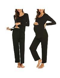 Iusun Women's Maternity Pajamas Set Suit Solid Long Sleeve Nursing Baby T-Shirt Tops+Adjustable Pants Breastfeeding Pregnants Clothes
