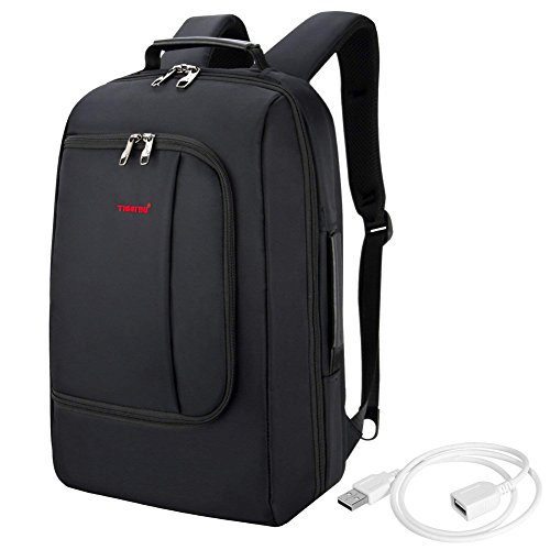 TIGERNU Slim Business Backpack with USB Charging Port Convertible Water Resistence Carry on Travel Bag with Luggage Strap Fits 15 15.6 Inch Laptops For Men Women Black by TIGERNU (Image #7)