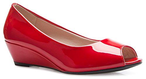 OLIVIA K Women's Classic Open Toe Kitten Heel Wedges | Dress, Work, Party Low Heeled ()