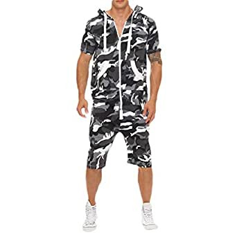 Mogogo Mens Camo Sports Relaxed Fit Short Sleeve Zip Up Top and Shorts Set 1 2XL