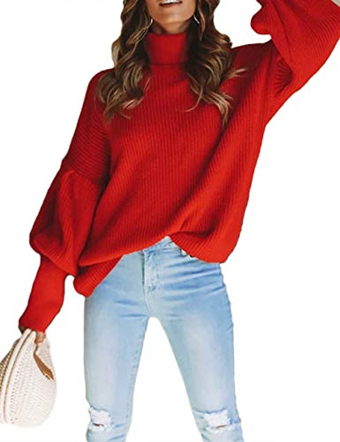 XXXITICAT Women's Turtleneck Knit Tops Long Sleeve High Neck Balloon Sleeve Loose Solid Jumper Knitted Sweaters(RE,M)