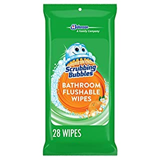 Scrubbing Bubbles Antibacterial Bathroom Flushable Wipes Bathroom and Toilet Cleaner, Citrus Action, 28 count