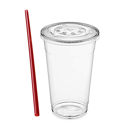 (100 Sets) 24 oz Clear Plastic Cups with Lids and FREE Straws, Disposable Crystal Clear PET Cups with Flat Straw Slot Lids for Cold Drinks, To Go Iced Coffee, Juice, Soda, Bubble Boba Tea, Smoothie