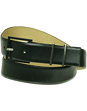 Women's 35mm with Metal Loops Genuine Leather Belt Black
