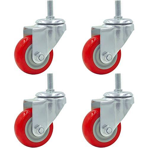 - 4 Pack Caster Wheels Swivel Plate Stem Casters On Red Polyurethane Wheels (3 inch Stem)